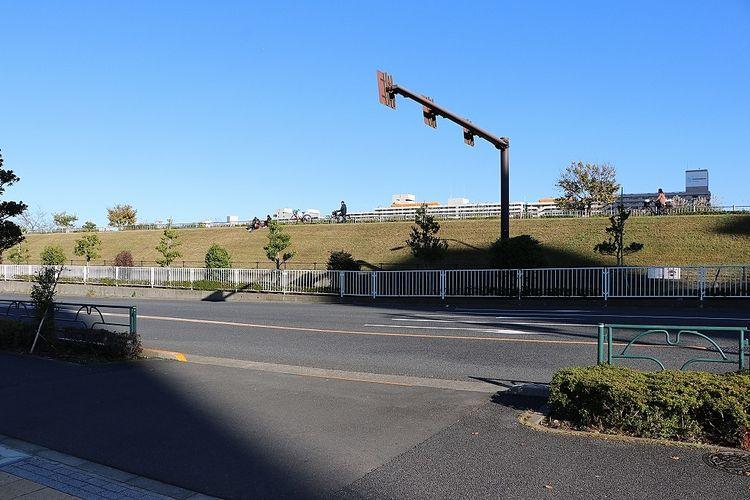 神社向かいは遊歩道。明治通りも近く、視認性も良好です。