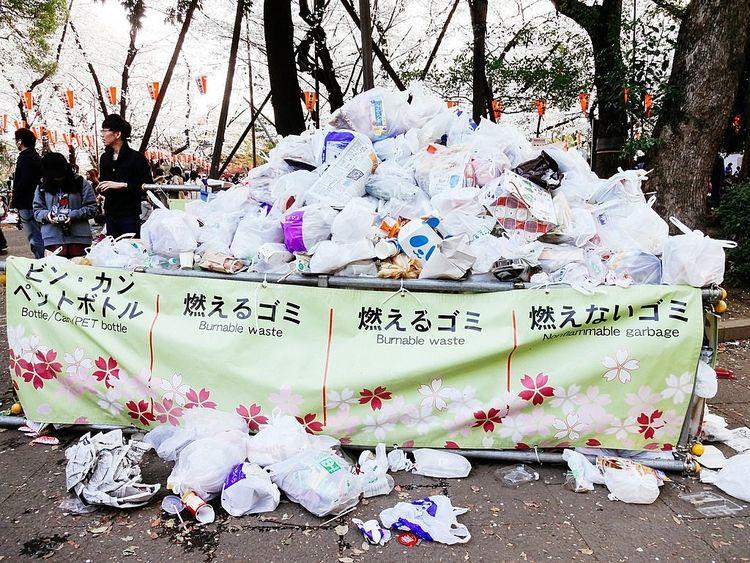 上野公園、花見会場のゴミ捨て場の写真です。
