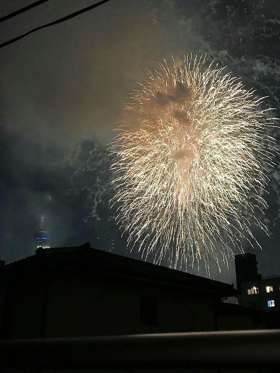 2019年隅田川花火大会の第一会場から上がった花火の写真です。