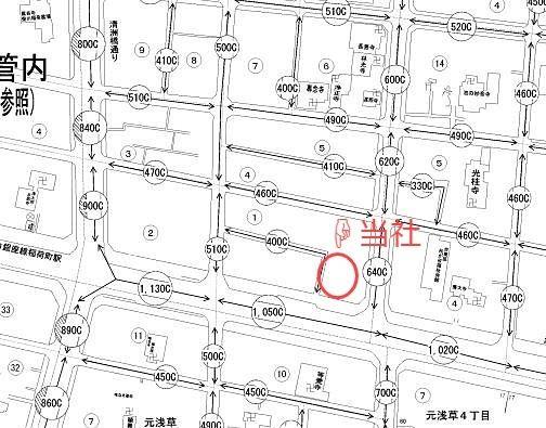 台東区東上野6丁目にある有限会社アートライフ周辺の、令和元年路線価です。