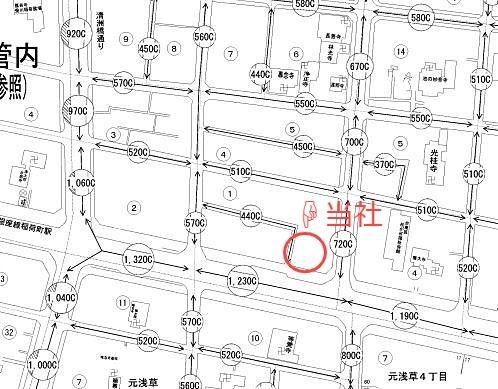 台東区東上野6丁目にある有限会社アートライフ周辺の、令和2年路線価です。