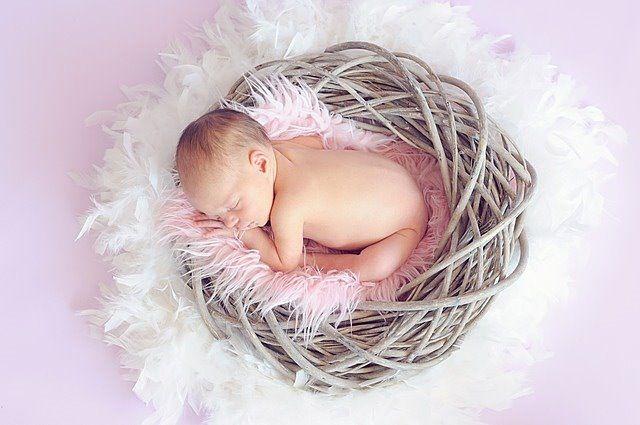 裸の赤ちゃんが羽にくるまれて眠っている写真です。