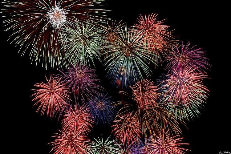 夜空に無数に上がる打ち上げ花火の写真です。